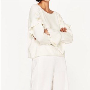 Zara Winter White Ruffle Bell Cuff Sleeve Sweater